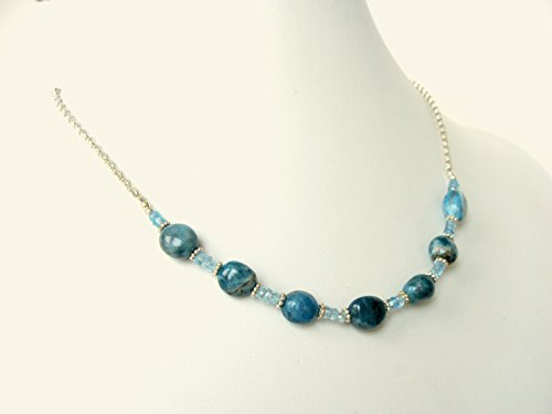 (Blue gemstone necklace- apatite nugget and blue topaz, genuine stones sterling silver, adjustable length, handmade by Let Loose Jewelry)