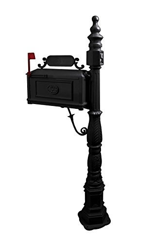 (Polar Aurora Barcelona Decorative Post Mailbox Combination Stratford Heavy Duty Postal Mail Box Cast Aluminum(Black))