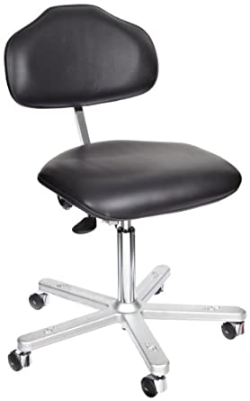 """Milagon Neutra WS1620-L Black Vinyl Workseat on Cast Aluminum 5 Star Base Electrostatic Chair with Self-Braking Conductive Casters, Low Profile, 17""""-24"""" Adjustment Height"""