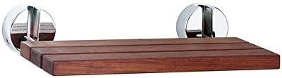 木製素材折りたたみシャワーバスシート壁掛けドロップリーフスツール強力なサポート、90°折り畳み式デザインウォークウェイチェアバスルームシャワースツール、高齢者障害者および限定モビリティのための折りたたみシャワーベンチシート (Color : Brown)
