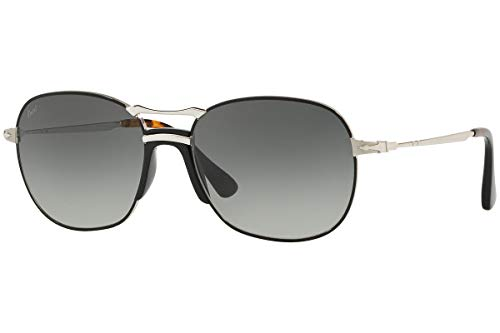 (Persol PO2449S - 107471 Sunglasses SILVER BLACK w/ GREY GRADIENT DARK GREY Lens 56mm)