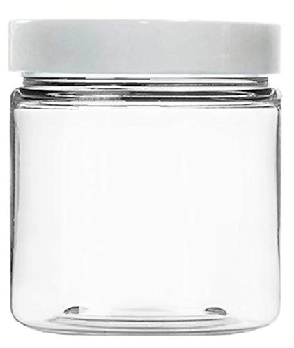24ac5c62d4f1 Clear 8 oz Plastic Jars with White Lids (6 pk) with Balm Jar - PET Round  Refillable Containers