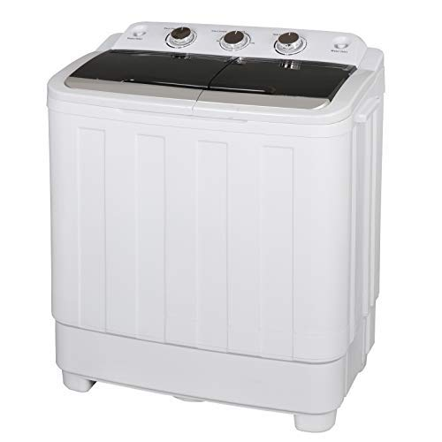 ZENY Portable Small Compact Washing Machine Twin Tub Washer Machine Spin Cycle w/Hose,17lbs