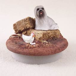 Conversation Concepts Miniature Lhasa Apso Gray Candle Topper Tiny One ''A Day on the Farm''