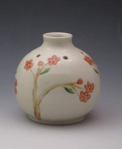 Handmade Porcelain Bud Vase, Essential Oil Reed Diffuser, Handpainted in Cherry Blossom - Hand Bud Vase Painted