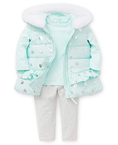 (Little Me Baby Girl's Jacket Set Outerwear, fair aqua/sparkle grey, 18 Months)