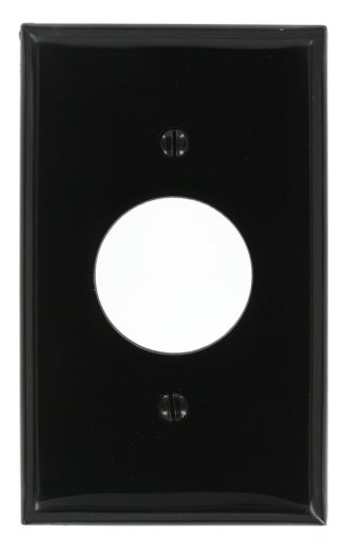 Leviton 80704-E 1-Gang Single 1.406-Inch Hole Device Receptacle Wallplate, Black (Black Wall Socket Covers compare prices)