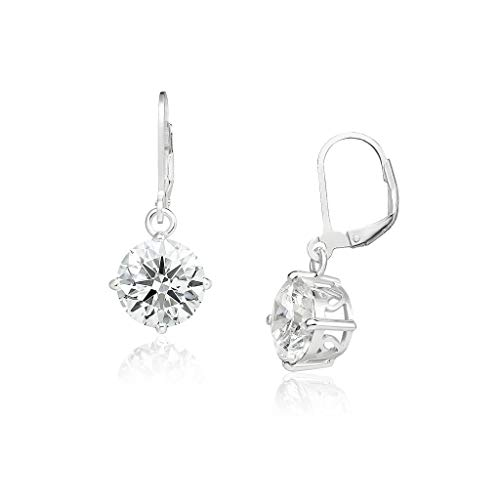 Big Apple Hoops - Genuine 925 Sterling Silver ''Basic and Simple'' 10mm Round Brilliant Simulated Diamond (CZ) Leverback Bridal Dangle Earrings | 5 Color Styles (Clear, Yellow, Red, Black, Lavender)