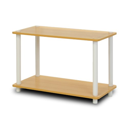 - Furinno 11250BE/WH 2-Tier Turn-n-Tube Shelf, Beech/White