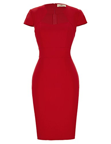 Belle Poque Retro Dress Stretch Bodycon Pencil Dress Red for Women Slim Fit, Red( Cotton + Nylon + Spandex ), Medium