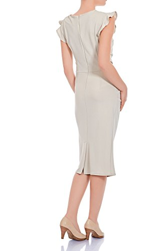 ba3bad4e6198 ... Laeticia Dreams Elegantes Damen Kleid Volant Etuikleid Wadenlang S M L  XL Beige zw48Z