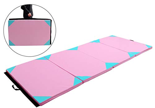 Exercise Mat 4'x10'x2 Gymnastics Thick Folding Panel Gym Fitness Pink & Blue with Ebook