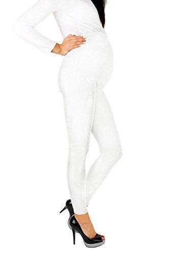 Futuro Fashion - Leggings premaman, lunghi fino alle caviglie, in cotone molto confortevole, taglia unica White