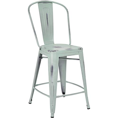 Pioneer Square Corliss 24-Inch Counter-Height Metal Stool with Back Rest, Set of 4, Distressed Boutique Blue ()
