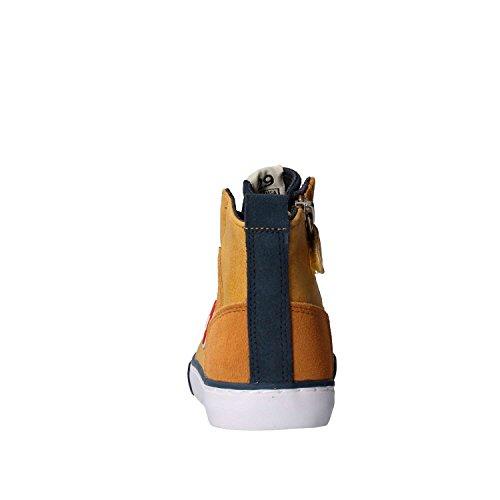 COLMAR - Zapatilla de cordones ocre y azul de poliuretano y ante, con cierre de cremallera lateral, Niño, Chico, Hombre Mostaza