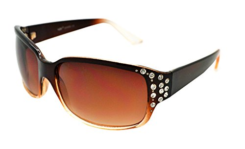 VOX Trendy POLARIZED Womens Hot Fashion Rhinestones Sunglasses w/FREE Microfiber Pouch - Brown/Clear Frame - Brown Lens