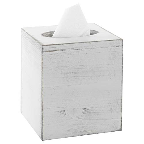 MyGift Vintage White Wood Square Tissue Box Cover ()