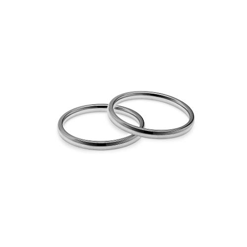 IJewel - Set of 2 Stackable Wedding Bands   2mm Ring in Stainless Steel Tone Size 7 ()