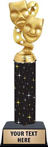 11 Inch Drama Masks with Stars Trophies - Black Glimmer Drama Masks with Stars Trophy Awards Prime