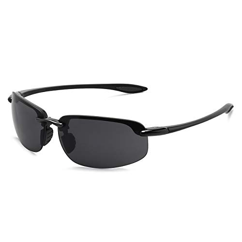 JULI Sports Sunglasses for Men Women Tr90 Rimless Frame for Running Fishing Baseball Driving MJ8001