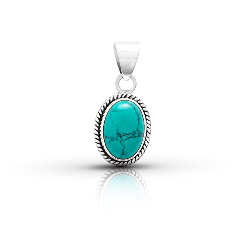 Oval Turquoise Pendant - Synthetic Turquoise Oval Stone Pendant Sterling Silver 925 Ethnic Vintage Look
