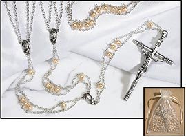Mother of Pearl Ladder Lasso Wedding Rosary imitation Glass Pearl Silver Plate