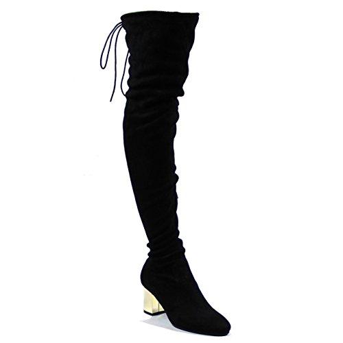 Mujer Muslo Talón De Bloque Espejo Descarado Moda Negro Invierno Boots Negro