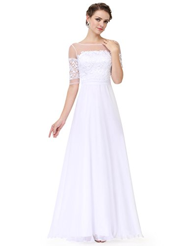 Ever-Pretty Womens Floor Length Illusion Neckline Lace Bust Prom Dress 6 US White