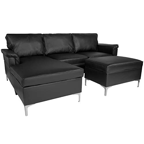 Flash Furniture Boylston Upholstered Plush Pillow Back Sectional with Left Side Facing Chaise and Ottoman Set in Black Leather