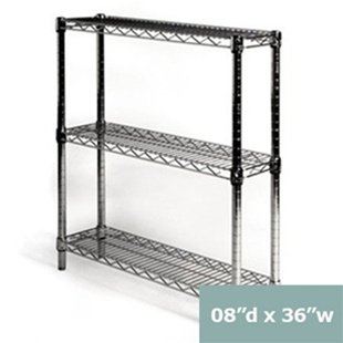 "Review 8""d x 36""w Chrome Wire Shelving with 3 Shelves By Shelving Inc by Shelving Inc"