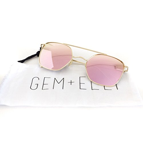 d95d60f86d1 free shipping Women s Square Aviator Rose Mirrored Sunglasses
