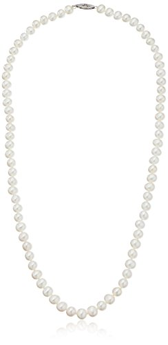 Sterling Silver White Freshwater Cultured A Quality Pearl Necklace (7.5-8mm), 24