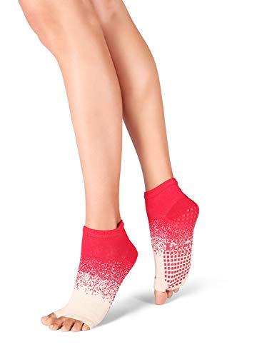 Yoga Socks for Women Non Slip, Toeless Non Skid Sticky Grip Sock - Pilates, Barre, Ballet (Cherry Fizz)