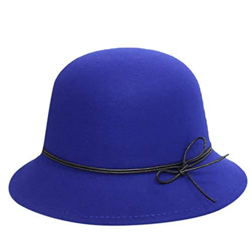 Kinglly Women's Crushable Wool Felt Outback Wide Brim Hat Panama Hat Wide Brim with Belt Blue
