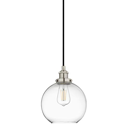 Primo Industrial Kitchen Pendant Light - Brushed Nickel Hanging Fixture - Linea di Liara LL-P429-BN ()