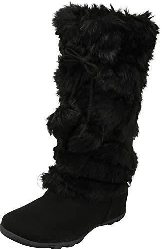 Cambridge Select Women's Faux Fur Pom-Pom Crisscross Tie Flat Mid-Calf Boot,6 B(M) US,Black