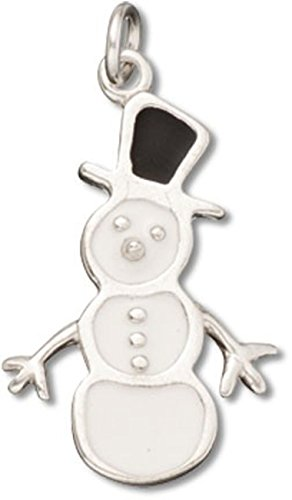 Sterling Silver White Enameled Winter Snowman Charm With Black Enameled Top - Charm Snowman Black