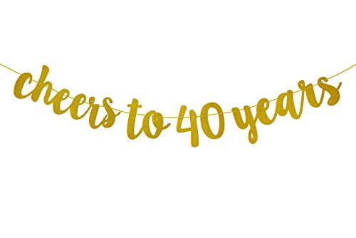 FECEDY Glittery Gold Cheers to 40 Years Banner for 40th Birthday Party]()