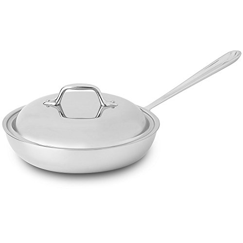 All-Clad BD551097 D5 Brushed Stainless Steel 5-Ply Bonded Dishwasher Safe French Skillet with Domed Lid / Cookware, 9-Inch, Silver