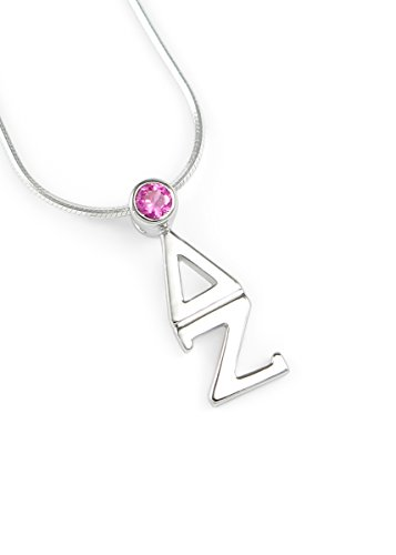 The Collegiate Standard Delta Zeta Sterling Silver Lavaliere with SwarovskiPink Crystal