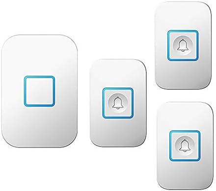 壁プラグインコードレスドアチャイム、1000フィート長距離ドアチャイムキット(3つのプッシュボタンと1つのレシーバー)52メロディー5つの音量レベルの防水電子ドアベル,白