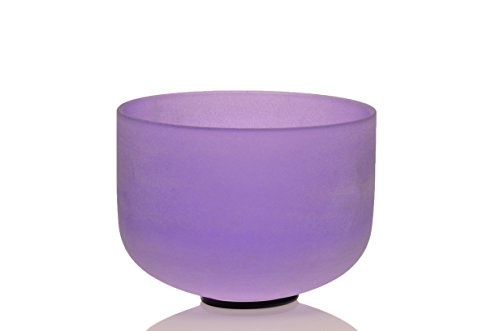 TOPFUND Singing Bowls A# Note Crystal Singing Bowl Pineal Chakra Violet Color 8 inch (O-Ring and Mallet Included)