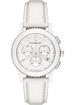 SALE! Authentic Burberry The City LUXURY Women 38mm Round Chronograph Watch White Leather Band White Tone Date Dial BU9701