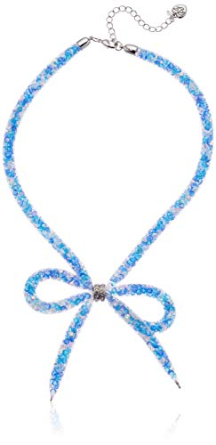 Betsey Johnson (GBG) Women's Aqua Mesh Bow Frontal Necklace, Aqua, One Size