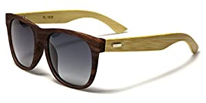 Polarized Classic Horn Rimmed Sunglasses with Bamboo Wood Temples