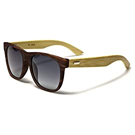 Polarized Classic Horn Rimmed Sunglasses with Bamboo Wood Temples 19 Leico Fashion sunglasses are created to stand out and compete with designer items in $20-$50 price range. UV400 standard - 100% UV Protection Drawstring Pouch included