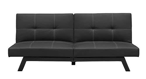 DHP Delaney Splitback Futon Compact Modern Design, Black Faux Leather -