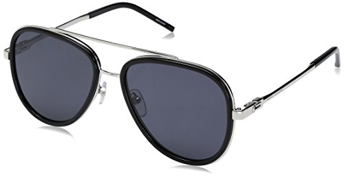 Marc Jacobs Women's Marc136s Aviator Sunglasses, BLACK/GRAY BLUE, 56 mm