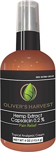 Olivers Harvest Hemp Oil Extract with Capsaicin Topical Cream- Temporary Relief of Joints, Muscles