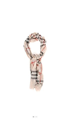 - Noble-Burberry Check Wool Silk Gauze Scarf - Stone Check